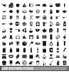 100 kitchen icons set in simple style vector image vector image