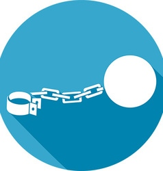 Iron chain with a shackle icon vector