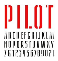 Narrow sanserif stencil plate font vector