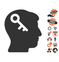 Head key icon with love bonus vector