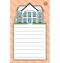 A stationery with an image of a house vector image