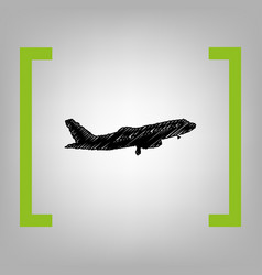 flying plane sign side view  black vector image