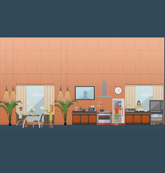 Set of kitchen flat style design elements vector