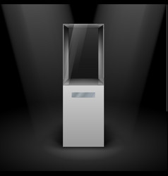 Empty glass showcase for presentation on black vector