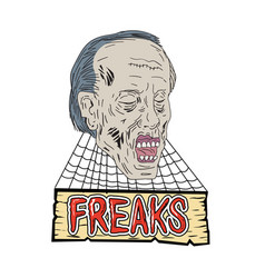 Zombie freaks cobwebs drawing vector