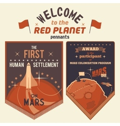 Award pennants for mars colonization program vector