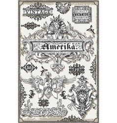 Vintage page hand drawn american banners and vector
