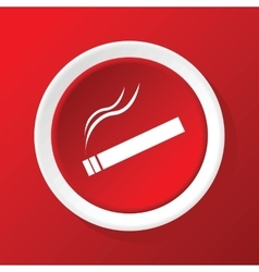 Burning cigarette icon on red vector