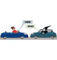 Danger of texting and driving vector