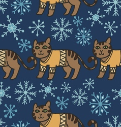 Adorable christmas cats in warm sweaters vector