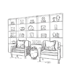 Cupboard and chair sketch room interior vector