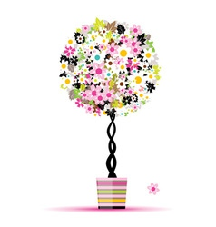 Summer floral tree in pot for your design vector