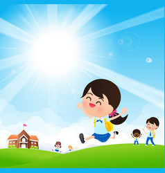 back to school concept student kids jumping and vector image vector image
