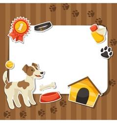Background with cute sticker dog icons and objects vector