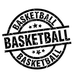 Basketball round grunge black stamp vector