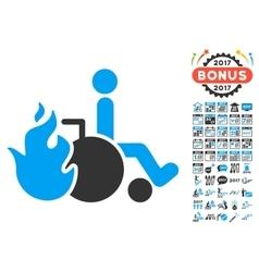 Burn patient icon with 2017 year bonus symbols vector