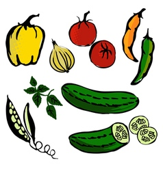 Cartoon tomatoes onion pepper and paprika silhouet vector