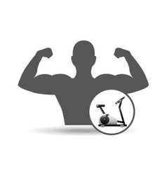 Fitness silhouette static bike gym graphic vector