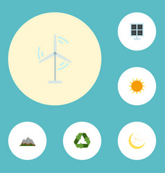 Flat icons sunshine electric mill night and vector