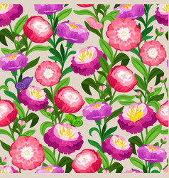 flowers seamless pattern spring floral vector image vector image