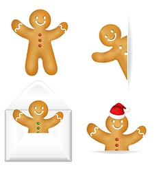 Gingerbread Mans Big Set vector image vector image