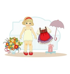 Girl doll with clothes vector