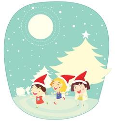 girls in snow vector image