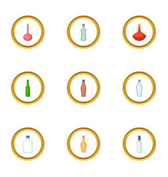 glass bottle icons set cartoon style vector image vector image