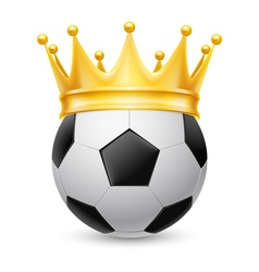 Gold crown on soccer ball vector image vector image