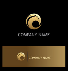gold wave round water logo vector image