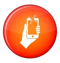 Hand photographed on mobile phone icon flat style vector