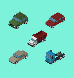 Isometric automobile set of car auto armored and vector