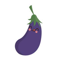 Kawaii eggplant vegetable fresh food image vector