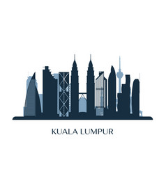 kuala lumpur skyline monochrome silhouette vector image