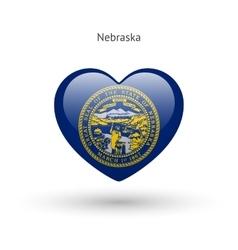 Love nebraska state symbol heart flag icon vector