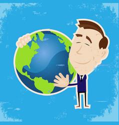 Man loving earth vector