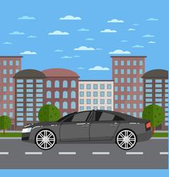 Modern business sedan in urban landscape vector
