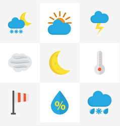 nature flat icons set collection of sunny drop vector image