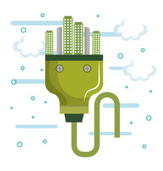 Power plug and city design vector