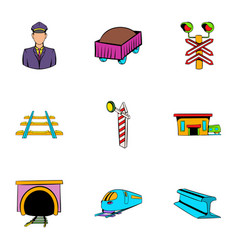 railroad icons set cartoon style vector image