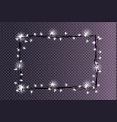 rectangular frame made christmas lights sparkling vector image