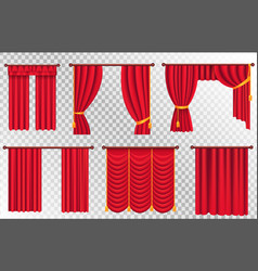 red curtains set theater curtain vector image vector image