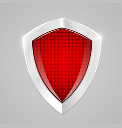 Red metal shield protection concept vector