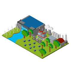 Scene with dam and power station vector