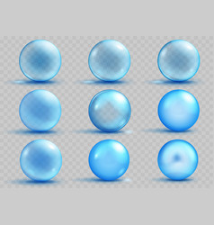 Set of transparent and opaque light blue spheres vector
