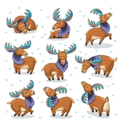 Set with hand drawn elks vector