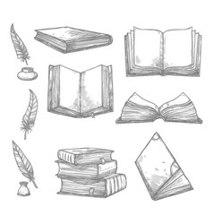 Sketch icons of old books and manuscripts vector