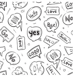Speech bubbles with internet chat words hand drawn vector