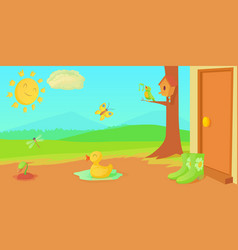 Spring horizontal banner things cartoon style vector