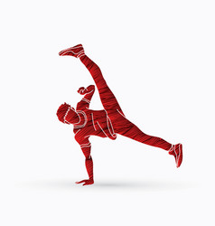 Street dance b boys dance hip hop dancing action vector